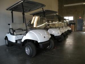 white yamaha drive electric gas golf cart